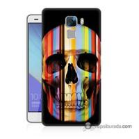 Teknomeg Huawei Honor 7 Kapak Kılıf Renkli Kurukafa Baskılı Silikon