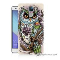 Teknomeg Huawei Honor 7 Kapak Kılıf Çiçekli Baykuş Baskılı Silikon