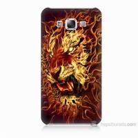 Teknomeg Samsung Galaxy E7 Ateşli Aslan Baskılı Silikon Kılıf