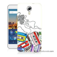 Teknomeg General Mobile 4G Android One Kapak Kılıf Kasetler Baskılı Silikon