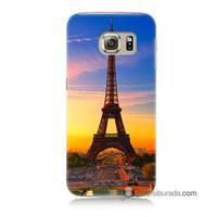 Teknomeg Samsung Galaxy S6 Kapak Kılıf Eyfelde Gün Batımı Baskılı Silikon