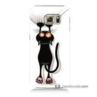 Teknomeg Samsung Galaxy S6 Kılıf Kapak Kara Kedi Baskılı Silikon