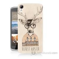 Teknomeg Htc Desire 828 Gözlüklü Geyik Baskılı Silikon Kapak Kılıf