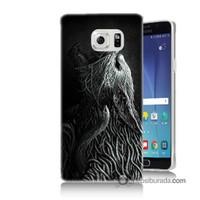Teknomeg Samsung Galaxy Note 5 Kılıf Kapak Savaşçı Kurt Baskılı Silikon