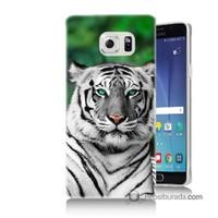 Teknomeg Samsung Galaxy Note 5 Kılıf Kapak Beyaz Kaplan Baskılı Silikon