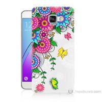 Teknomeg Samsung Galaxy A7 2016 Kapak Kılıf Çiçek Ve Kelebek Baskılı Silikon