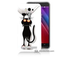 Teknomeg Asus Zenfone Laser 5.0 Kılıf Kapak Kara Kedi Baskılı Silikon