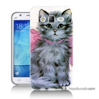Teknomeg Samsung Galaxy J5 Kılıf Kapak Papyonlu Kedi Baskılı Silikon