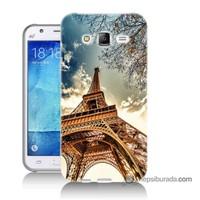 Teknomeg Samsung Galaxy J5 Kapak Kılıf Eyfel Kulesi Baskılı Silikon