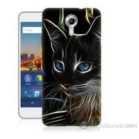 Teknomeg General Mobile Discovery 4G Android One Dumanlı Kedi Baskılı Silikon Kapak Kılıf