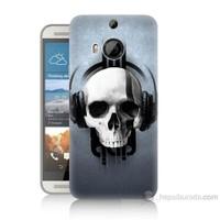 Teknomeg Htc One M9 Plus Müzik Dinleyen Kurukafa Baskılı Silikon Kılıf