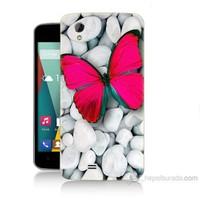 Teknomeg General Mobile Discovery 2 Mini Kelebek Baskılı Silikon Kılıf