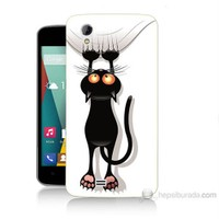 Teknomeg General Mobile Discovery 2 Mini Kara Kedi Baskılı Silikon Kılıf