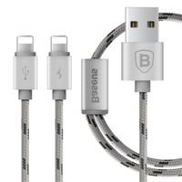 Baseus Kny 2İn1 Apple Lightning Usb Data Kablosu 2 Lightning Çıkışlı Gümüş 120Cm