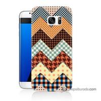 Teknomeg Samsung Galaxy S7 Edge Kapak Kılıf Patchwork Baskılı Silikon