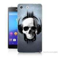 Teknomeg Sony Xperia M5 Müzik Dinleyen Kurukafa Baskılı Silikon Kılıf