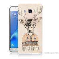 Teknomeg Samsung Galaxy J7 2016 Kapak Kılıf Gözlüklü Geyik Baskılı Silikon