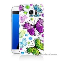 Teknomeg Samsung Galaxy S7 Edge Kapak Kılıf Renkli Kelebekler Baskılı Silikon