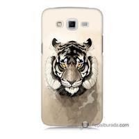 Teknomeg Samsung Galaxy Grand 2 Kapak Kılıf Beyaz Aslan Baskılı Silikon