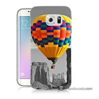Teknomeg Samsung Galaxy S6 Edge Kılıf Kapak Renkli Uçan Balon Baskılı Silikon