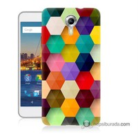 Teknomeg General Mobile 4G Android One Kapak Kılıf Renkli Petek Baskılı Silikon