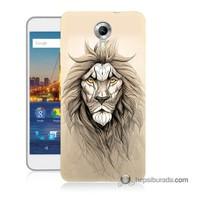 Teknomeg General Mobile 4G Android One Kılıf Kapak Beyaz Aslan Baskılı Silikon