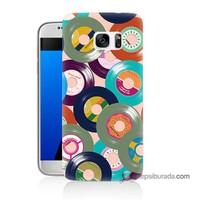 Teknomeg Samsung Galaxy S7 Kapak Kılıf Renkli Plaklar Baskılı Silikon