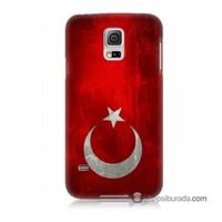 Teknomeg Samsung Galaxy S5 Kılıf Kapak Türkiye Bayrağı Baskılı Silikon