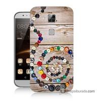 Teknomeg Huawei Ascend G8 Kapak Kılıf Düğmeler Baskılı Silikon