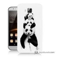 Teknomeg Huawei Ascend G8 Kapak Kılıf Panda Ailesi Baskılı Silikon