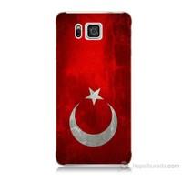 Teknomeg Samsung Galaxy Alpha G850 Türkiye Bayrağı Baskılı Silikon Kılıf