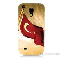 Teknomeg Samsung Galaxy S4 Mini Türk Bayrağı Baskılı Silikon Kılıf