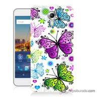 Teknomeg General Mobile 4G Android One Kapak Kılıf Renkli Kelebekler Baskılı Silikon