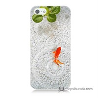 Teknomeg İphone 5 Kapak Kılıf Kırmızı Balık Baskılı Silikon