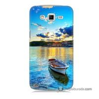Teknomeg Samsung Galaxy Grand 2 Kılıf Kapak Gün Batımında Deniz Baskılı Silikon