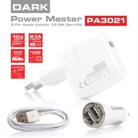 Dark Power Master Apple Lightning Kablolu 5V/2.4A Ev-Araç Şarj Cihazı Kiti (iPhone 5/ 5s / 5SE / 6 / 6s / 7 / 7Plus / iPod / iPad)(DK-AC-PA3021)