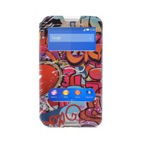 Teleplus Sony Xperia E4 Çift Pencereli Kılıf Karışık Desen
