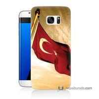 Teknomeg Samsung Galaxy S7 Edge Kılıf Kapak Türk Bayrağı Baskılı Silikon