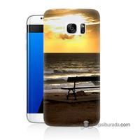 Teknomeg Samsung Galaxy S7 Edge Kılıf Kapak Gün Batımı Baskılı Silikon