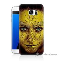 Teknomeg Samsung Galaxy S7 Edge Kapak Kılıf Sarı Kız Baskılı Silikon