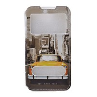 Teleplus Htc Desire 516 Çift Pencereli Taksi Desenli Kılıf