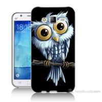 Teknomeg Samsung Galaxy J5 Kapak Kılıf Beyaz Baykuş Baskılı Silikon