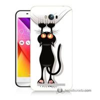 Teknomeg Asus Zenfone Max Kılıf Kapak Kara Kedi Baskılı Silikon