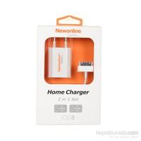 Newonline iPhone 4/4S Ev Şarjı ve USB Kablo (NW-IP4-HOME)