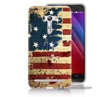 Teknomeg Asus Zenfone Selfie Kılıf Kapak Amerika Bayrağı Baskılı Silikon