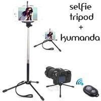 Coverzone Sony Xperia Z3 Tripod Selfie Çubuğu 3 Ayak Stand - Kumanda 2İn1