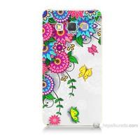 Teknomeg Samsung Galaxy A3 Kapak Kılıf Çiçek Ve Kelebek Baskılı Silikon