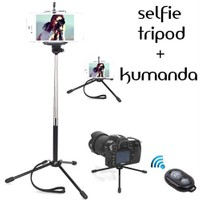Coverzone Samsung Galaxy J1 Tripod Selfie Çubuğu 3 Ayak Stand - Kumanda 2İn1