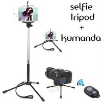 Coverzone Samsung Galaxy A9 Tripod Selfie Çubuğu 3 Ayak Stand - Kumanda 2İn1