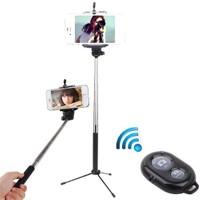 Coverzone Sony Xperia Z3 Z5 M5 C4 Tripod Selfie Çubuğu 3 Ayak Stand + Kumanda 2İn1